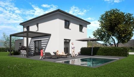Perspective jardin Topaze constructeur Euromaisons Sierentz